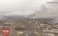 Пожар в Балаклее: видео с высоты птичьего полета