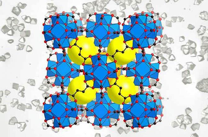 MOF структура: Желтые шары представляют собой пустоты в структуре, которые собирают воду. Источник: UC Berkeley / Berkeley Lab