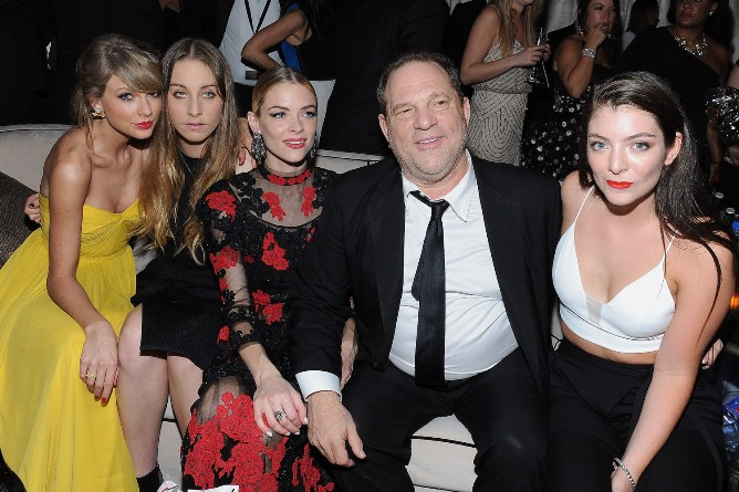 BEVERLY HILLS, CA - JANUARY 11: (L-R) Recording artist Taylor Swift, musician Este Haim, actress Jaime King, producer Harvey Weinstein and recording artist Lorde attend The Weinstein Company & Netflix's 2015 Golden Globes After Party presented by FIJI Water, Lexus, Laura Mercier and Marie Claire at The Beverly Hilton Hotel on January 11, 2015 in Beverly Hills, California. (Photo by Angela Weiss/Getty Images for TWC)
