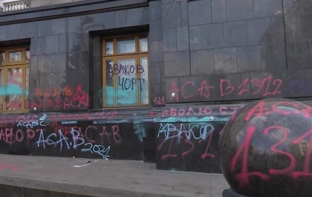Cвастику на здании ОП нарисовали после акции - полиция