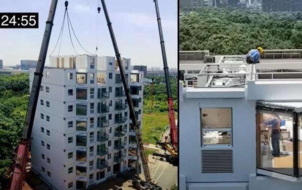 В Китае показали стройку многоэтажки за сутки
